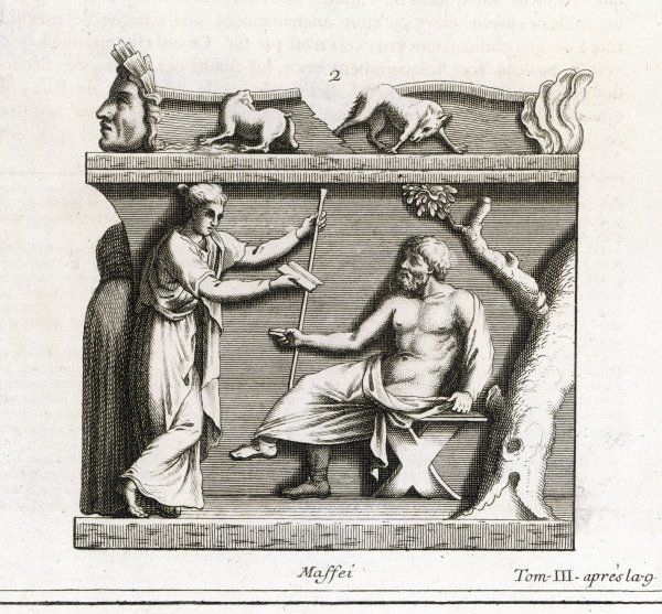 SOCRATES with his wife Xanthippe, a notorious shrew