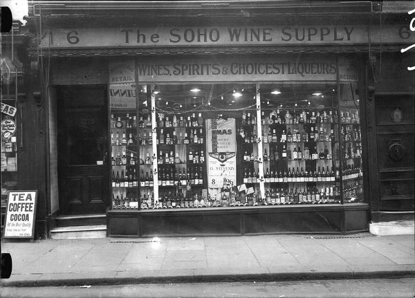 The window display of The Soho Wine Supply shop front, central London, England