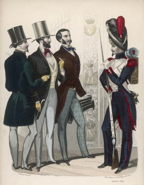 Pantaloons -1 pair in a diaper pattern, neckties, top hats, shirt with pleated cuffs, pumps with bows, Newmarket or cutaway coats, a brown coat cut square across the front