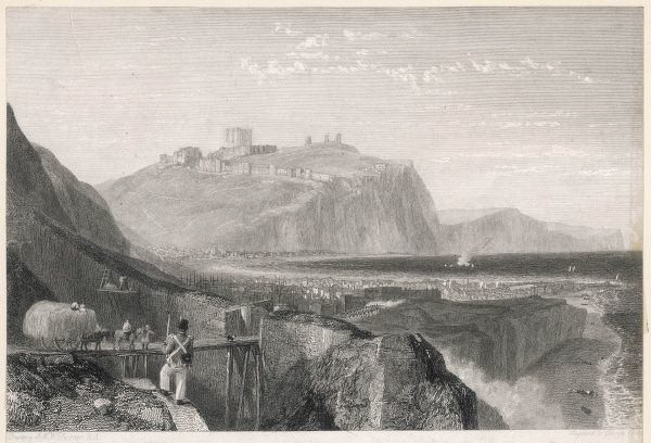 Manning the white cliffs of Dover, Kent : a soldier in the foreground, the castle in the background, to deter the French... Date: early 19th century
