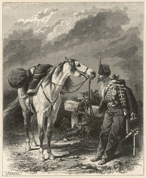 A horse and his master appear involved in a deep conversation or dispute with one another, both stubbornly refusing to look away