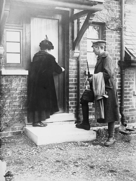 Soldier on leave returning home during World War I