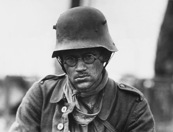 German soldier wearing a helmet on the Western Front in 1917 during World War I
