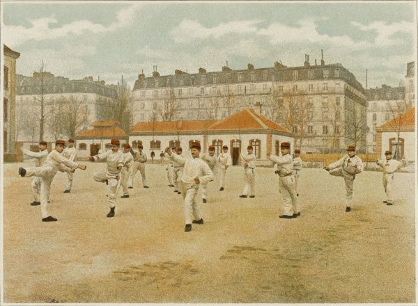 The 'exercise de la boxe' is not only good for French soldiers' health but encourages them not to fear the enemy. Date: circa 1900