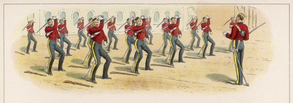 Soldiers doing sword exercises