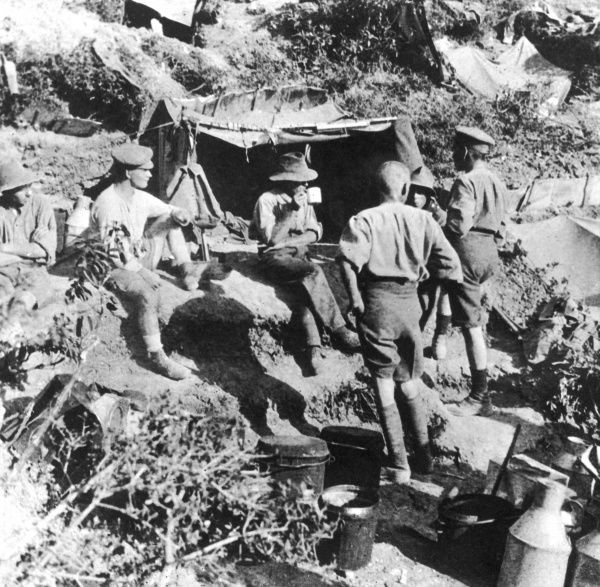 British or Australian soldiers taking shelter at Gallipoli during World War I