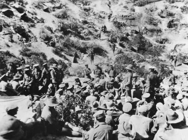 Soldiers in Anzac Cove at Gallipoli during World War I