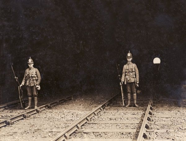 Two soldiers guarding Willesden railway tunnel in north west London during the first national railway strike, which took place in August 1911 over the issue of union recognition