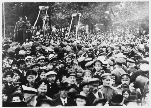 Soldiers at Petrograd listen as a speaker tells them what a splendid thing the revolution is