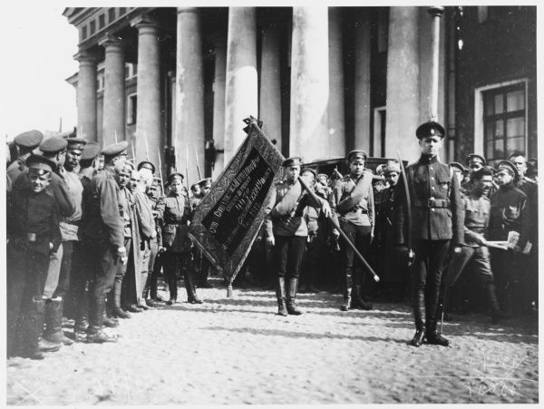 Soldiers prepare to leave for the front, now serving the provisional government rather than the tsar