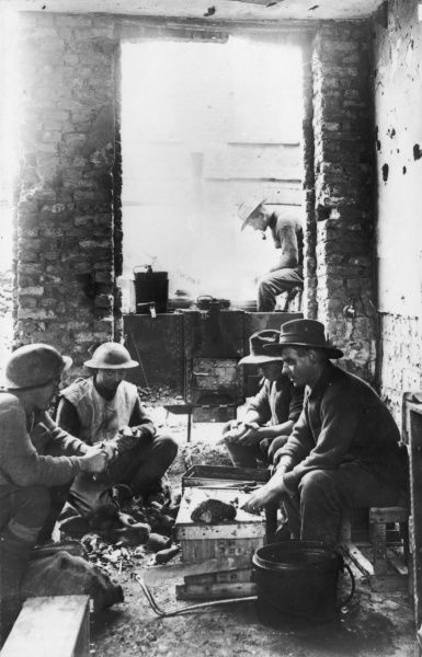 Soldiers preparing a meal on the British Front in France during World War I in 1917