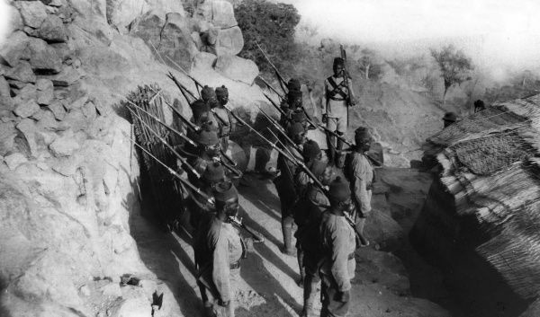 Soldiers of C Company M1 at Varmi Fort, Nigeria, West Africa, during the First World War. Date: circa 1914-1916