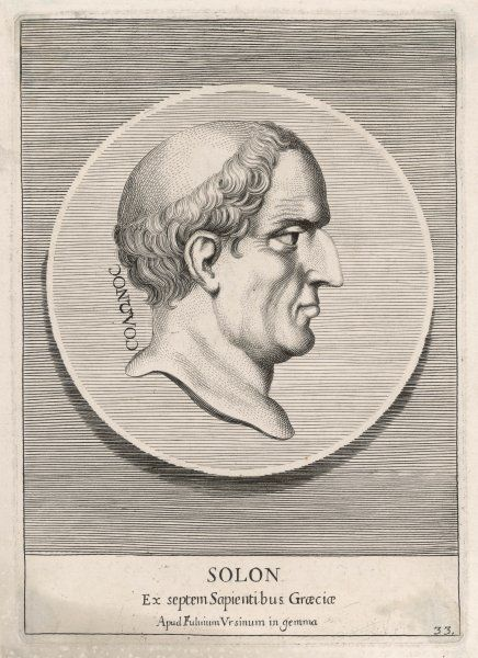 SOLON Athenian statesman, elected Archon circa 594 BC - he initiated economic and constitutional reforms