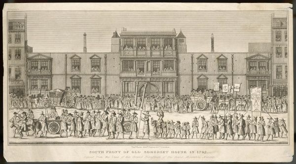 Old Somerset House, in the Strand : before demolition to make way for the present grander edifice, Crowds are watching a procession of the Seald Miserable Masons