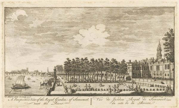 The gardens of Somerset House - now replaced by the Embankment Gardens - beside the Thames : you can see Westminster Abbey and Hall in the far distance