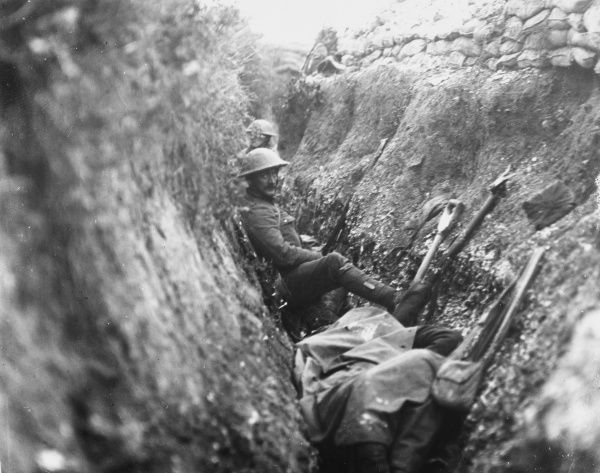 British troops wait pensively in the trenches for the order to advance on Beaumont Hamel on the first day of the Battle of the Somme