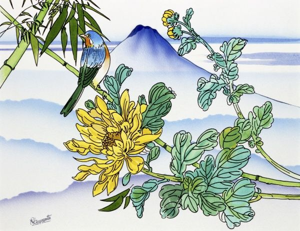 A colourful songbird perched amid the bamboo blossoms in this fantasy Japanese landscape painting by Malcolm Greensmith. The distinctive peak of Mount Fuji dominates the horizon