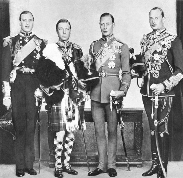 EDWARD VIII and his brothers. From left, Prince George, Duke of Kent, the King (formerly Prince of Wales), Albert, Duke of York and Henry, Duke of Gloucester
