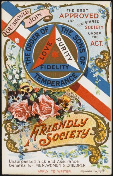 THE ORDER OF THE SONS OF TEMPERANCE friendly society - unsurpassed sick and assurance benefits for men, women and children (1 of 2)