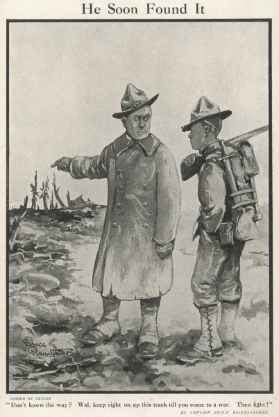 An experienced American officer during World War One, advises a fresh-faced recruit to keep walking straight until he gets to the fighting in the front line
