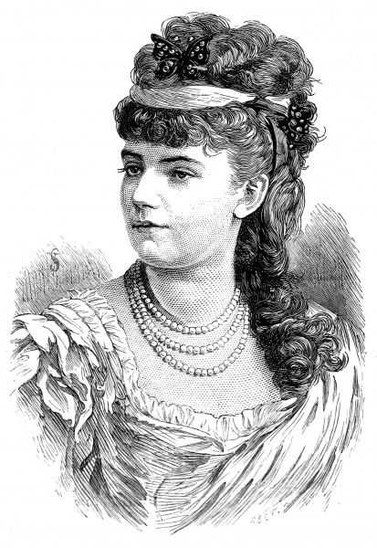 Engraved portrait of Sophie Croizette, the French actress, pictured in 1879