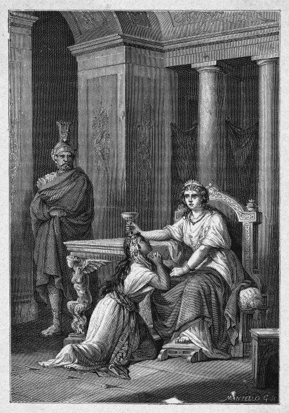 Numidian daughter of Hasdrubal and queen of Syphax, king of the Masaesylii, renounces him and takes poison sent by her lover Massinissa, to avoid capture by the Romans. 2 of 2