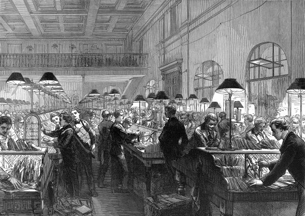 Engraving from 1875, showing the sorting room of the General Post Office with workers (all male) stamping and sorting mail