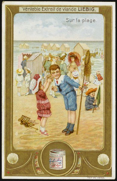 A little girl holds a sea- shell up to her brother's ear so that he, too, may hear the sound of the sea