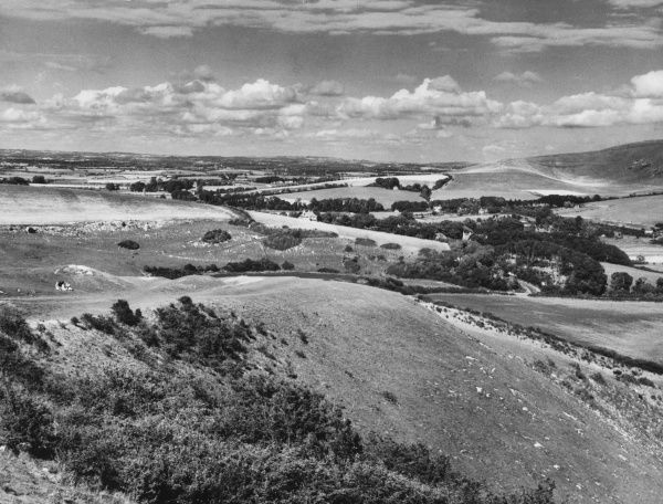The rolling South Downs, seen from above the old Sussex village of Alfriston