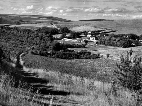 The rolling South Downs, seen from above Westdean, West Sussex, England. Date: 1940s