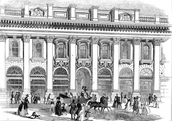 Engraving showing the exterior of the South entrance of the Royal Exchange, London, 1844