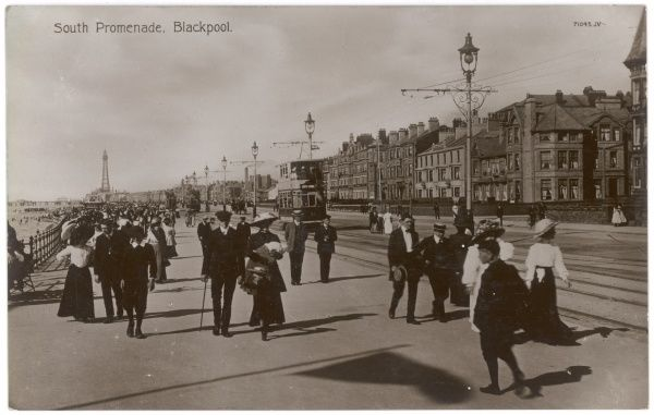 Strollers on the South Promenade at Blackpool, Lancashire
