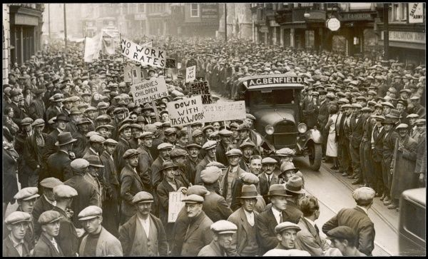 Street demo by Southampton workers against hardships caused by the industrial crisis