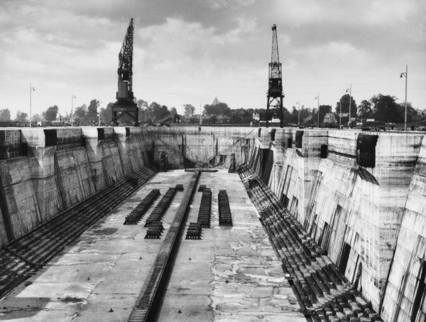 King George V Graving Dock at Southampton, England, 1,200 feet long and 135 feet wide, with a depth of 50.5 feet to keel blocks