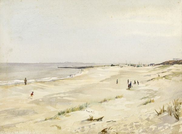 Southbourne beach. Watercolour painting by Raymond Sheppard