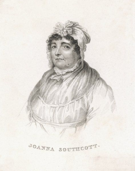 JOANNA SOUTHCOTT Prophetess and founder of a sect. Vignette portrait wearing a mob cap