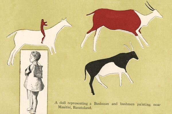 Bushmen (San) paintings from South Afrca, depicting animals (mostly eland antelope) from Masitisi, Basutoland and a small doll representing a bushman. Date: circa 1910s