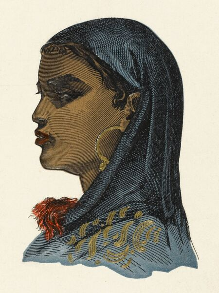 A profile portrait Southern Egyptian Girl, from the modern Sudan, with blue headscarf and large hooped gold earrings