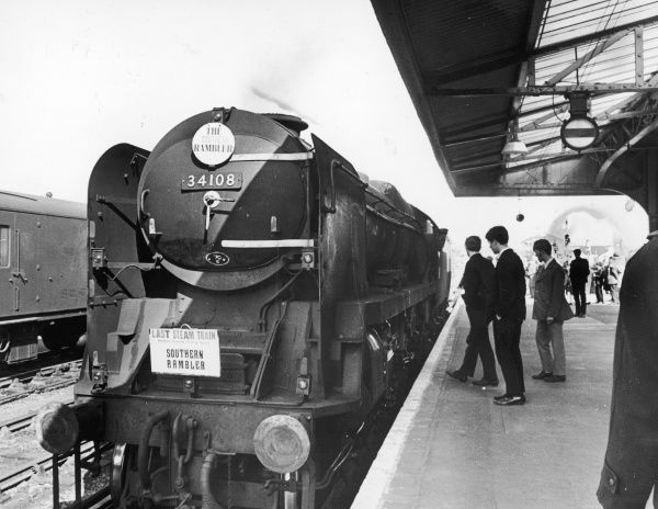The 'Southern Rambler' 34108, on its final journey between Brighton and Eastbourne, the last steam train on that route and the end of an era... Date: 19 March 1967