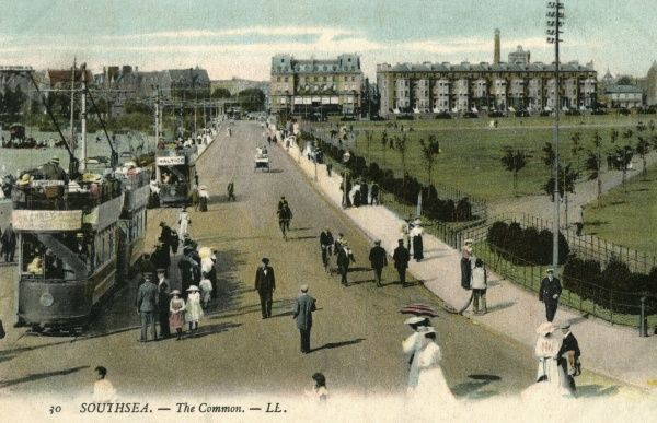 Trams convey holidaymakers to the Common at Southsea, Hampshire. Date: circa 1905