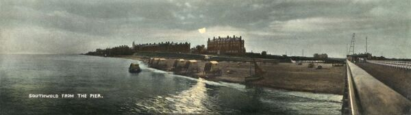 Southwold, Suffolk - view from the pier - on an overcast day in the late afternoon. Date: circa 1909