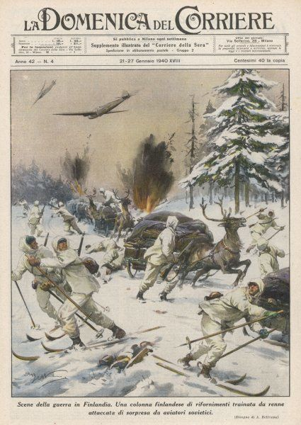 Finland : Soviet aircraft attack a Finnish supply train of elk-drawn sledges : the Finnish troops themselves are on skis
