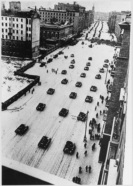 Tanks leave Moscow after a parade, going straight to the front-line. This is a view of Gorky Street