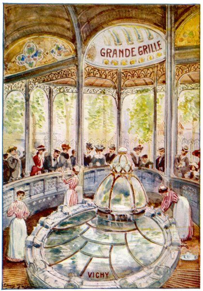 Vichy; La Grande Grille; waitresses in red & white striped uniforms, serve water to a gathering crowd