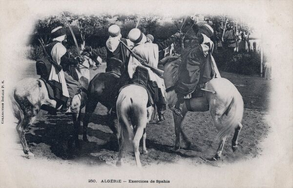 Spahis were light cavalry regiments of the French army recruited primarily from the indigenous populations of Algeria. Here they are doing sword exercises