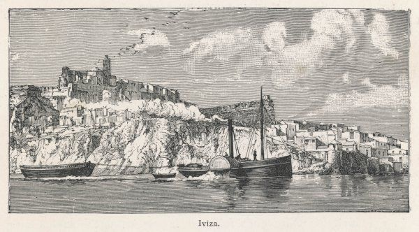 A view from the sea toward the island of Ibiza. Date: 1896