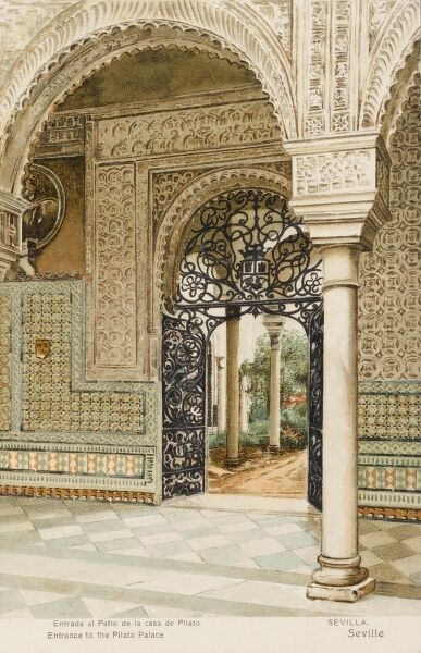 Ornate entrance to the Casa Pilatos Palace, Seville, Spain. Although dating to after the Moorish period (16th century) - it is built in the mudejar style