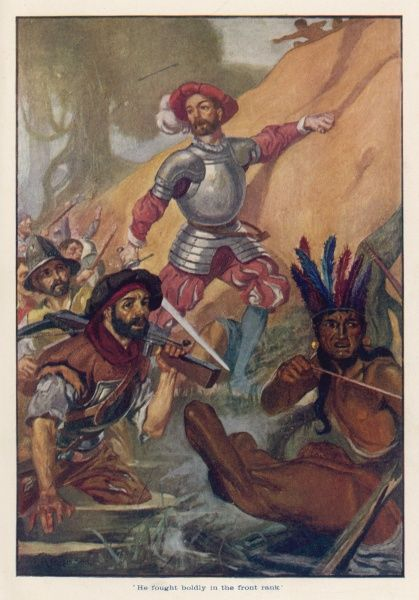 Cortes and his men have their boats overturned on the river Tabasco and are forced to defend themselves against the furious native Tabascans