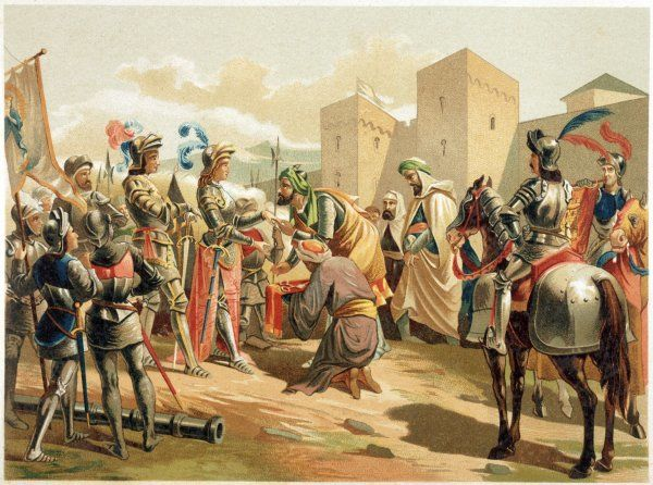 The end of Arab rule in Spain: Boabdil, the last Nasrid king, surrenders the keys of Granada to the Spanish Date: 2 January 1492