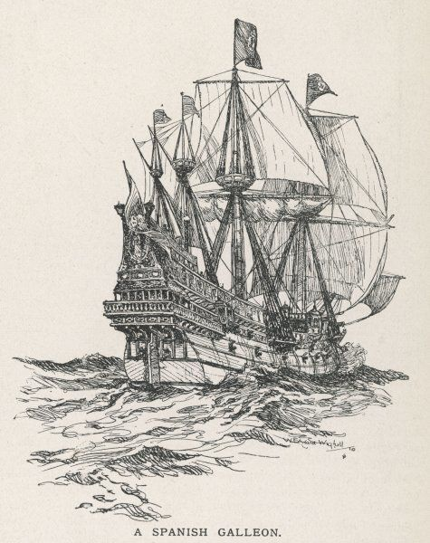 A Spanish galleon, of the type that sailed with the Armada in 1588